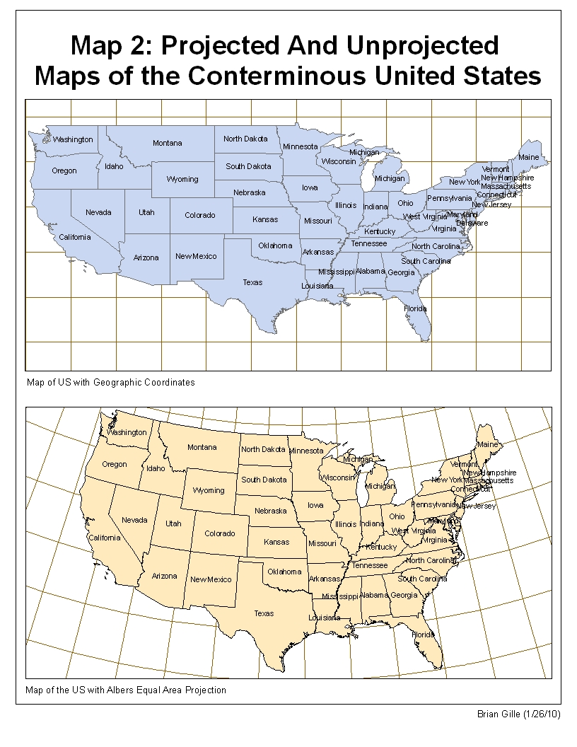 Brian Gille Map 2 Projected And Unprojected Maps Of The Conterminous Us